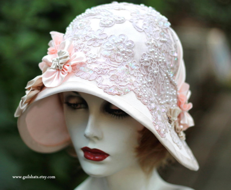 144-Full. 1920s vintage inspired cloche hat for a wedding ... f80ec4f6886